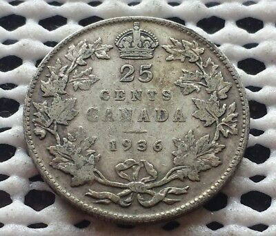 1936 ❀ King George V ❀ 25 Cent Canada Silver Coin Quarter
