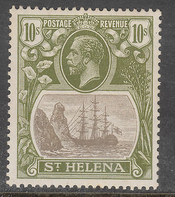 ST HELENA SG 112 10/- Badge of the Colony MUH light tone High Cat $$