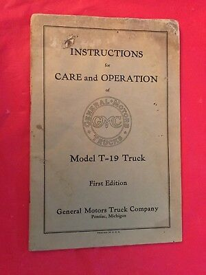 "x 1928 General Motors ""T-19 Truck"" Owner's Instruction & Care Manual 1st Edition"