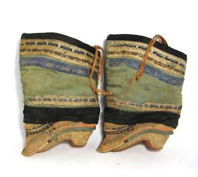 Antique 19th C. Chinese Oriental Lotus Shoes/Boots Embroidered Silk f/Bound Feet