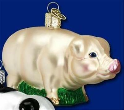 Pink Pig Hog Swine Pork Old World Christmas Glass Farm Animal Ornament Nwt 12121