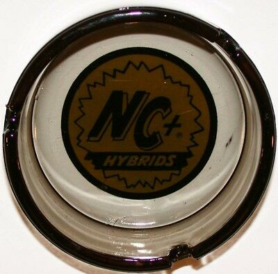 Vintage glass ashtray NC+ HYBRIDS yellow and black logo in n-mint condition