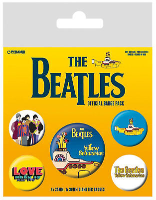 The Beatles Badge Pack Yellow Submarine Band Logo  new Official 5 X Button