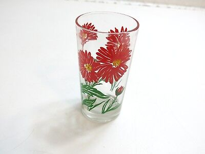 "Vintage Boscul Aster Peanut Butter Glass Name On Bottom 5"" Tumbler Red Flower"