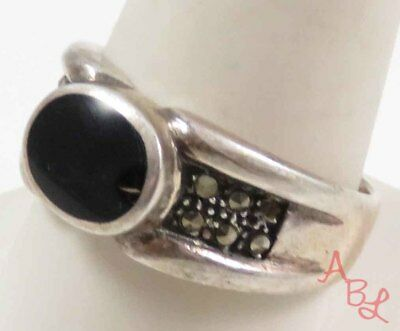 Sterling Silver 925 Inlay Black Onyx & Marcasite Ring Sz 10.75 (8.5g) - 728585