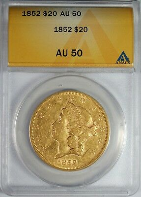 1852 $20 Gold Liberty Head Double Eagle Coin ANACS AU50