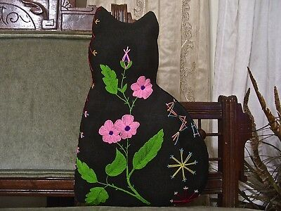 KITTY from 1880-1915 CRAZY QUILT~AMAZING DETAILED EMBROIDERY~BEAUTIFUL FLOWERS~