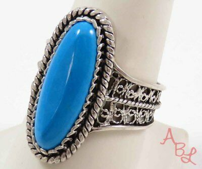 Sterling Silver Vintage 925 Filigree Cocktail Chrysocolla Ring Sz 9 (7g) 728239