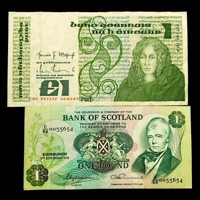 Pair of 1970's & 80's Issue 1 Pound Notes -VF/Crisp XF- Pick #'s 70c & 111c