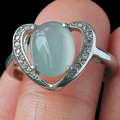 15.7CT 925 Sterling Silver 100% Natural Grade A Jadeite Cab Ring CYFC58