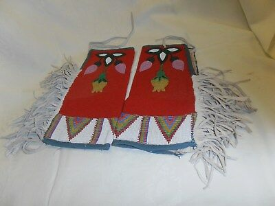 Vint.~American Indian~Handmade~Double Side~Beaded Leather Suede Armcuff/leggings