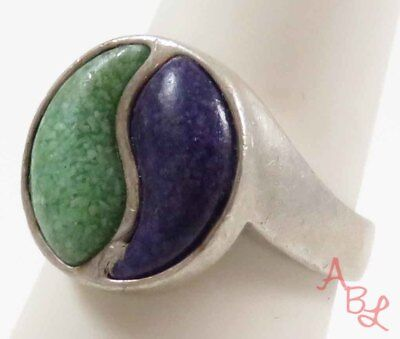 C.co Sterling Silver 925 Yin & Yang Turquoise & Sugilite Ring Sz 7 (9.2g) 728293