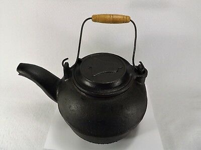 RARE Antique Cast Iron Tea Kettle Bell Design on Lid American Wooden HandleHEAVY