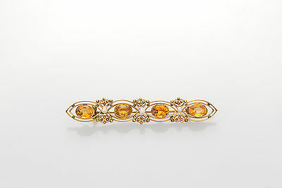 Antique 1920s 3ct Natural Citrine Pearl 10k Yellow Gold Brooch Pin