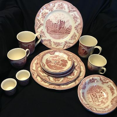 NWT 2-8pc place settings of PINK CASTLES by JOHNSON BROS England 1883 LOVELY!!