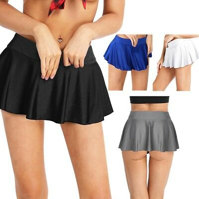 Fashion Women Gym Stretchy Skorts Tennis Flared Pleated Mini Skirts Skater Skirt