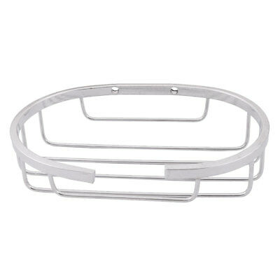 Bathroom Stainless Steel Oval Shaped Bath Soap Storage Holder Tray Silver Tone