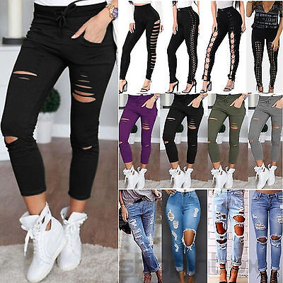 Womens Ladies Celeb Stretch Ripped Skinny High Waist Denim Pants Jeans Trousers