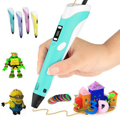 3D Stereoscopic Doodler Printing Pen LCD 2nd Generation+3 Free Filaments+AU Plug