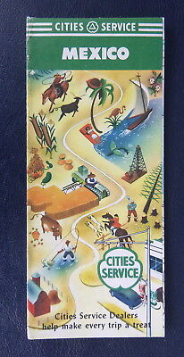 1949 Mexico road map Cities Service gas Mexico City