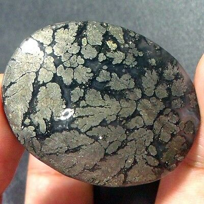 """79ct NATURAL PICTURE AGATE Silver """"Exotic Flower"""" ~3D Pyrite & Copper Flake~"""