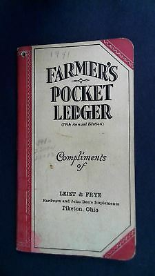 1936 - 1937 John Deere Farmer's Pocket Ledger Piketon Ohio w/ 1941 notations