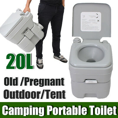 20L 5 Gallon Portable Toilet Flush Travel Camping Outdoor/Indoor Potty Commode