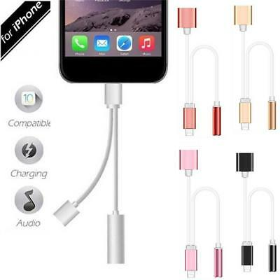 2in1 Lightning Adapter Headphone Audio Cable Charger Splitter For iPhone 7 Plus