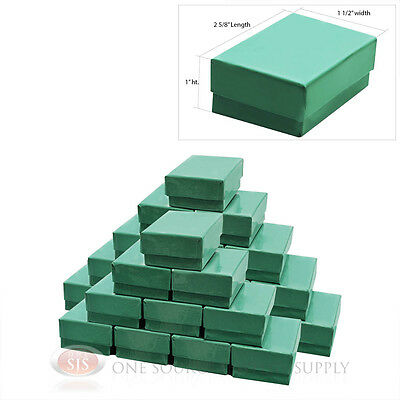 """25 Teal Blue Cotton Filled Jewelry Gift Boxes  2 5/8"""" X 1 1/2"""""""
