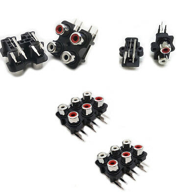 Audio 2-6 WAY RCA Female Jack PCB Mounted Input Phono Chassis Socket Connector