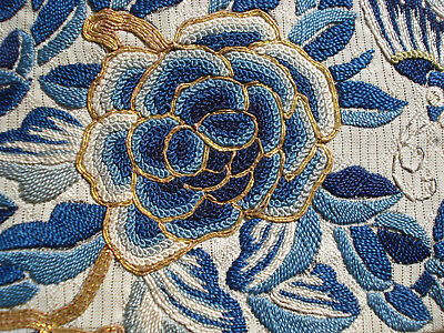 Antique chinese embroidered silk sleeve bands - forbidden stitch
