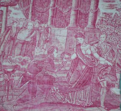 BEAUTIFUL GOOD SIZED PIECE EARLY 19th CENTURY FRENCH TOILE DE JOUY, c1820