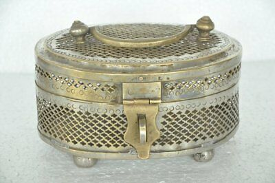 Old Brass Oval Shape Jali Cut Nickel Plated Handcrafted Jewellery Box