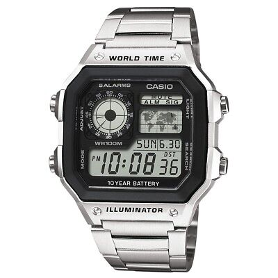 Casio Digital LCD Watch with World Time Alarm Timer Stopwatch AE-1200WHD-1AVEF