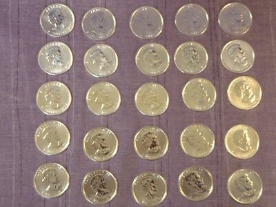 25 Canadian Silver Maple 1oz Coins all dated 2011.  5 dollars face value. .9999