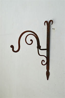 Beautiful hand made rusty wrought iron curled top hanging bracket wall hook 5