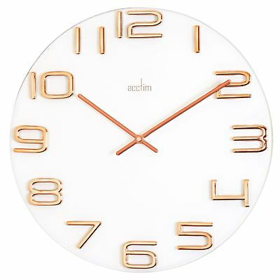 Acctim Friesland Glass Wall Clock White & Rose Gold Colour 40cm Diameter