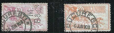 Romania Scott #161 & 165, Singles 1903 FVF Used