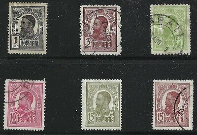 Romania Scott #217-20 & 222-23, Singles 1909-18 FVF Used
