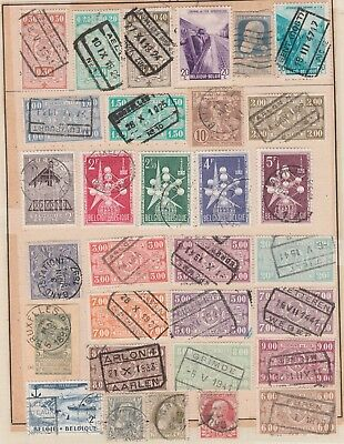 BELGIUM Assorted Stamps on Old Pages, Boats Wheat, etc USED as per scan #