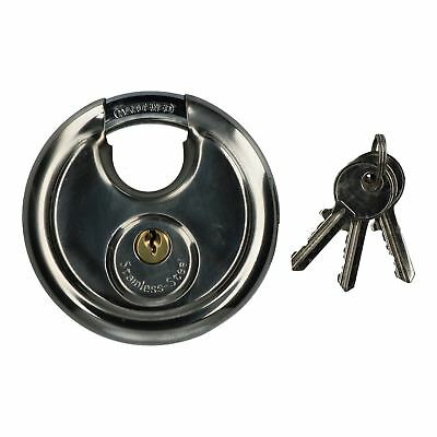 90mm Disc Padlock Security Shed Gate Lock Round Circle Steel Brass Lock
