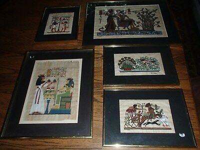 Lot of 5 Vintage Egyptian Papyrus Framed Paintings in Gilt Frames large & small