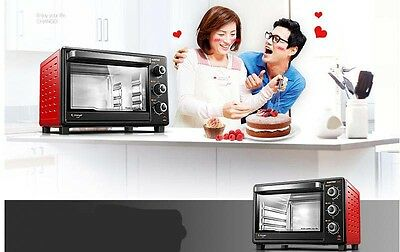 30L Home Commercial Black+Red Multi-function Baking Tool Benchtop Electric Oven