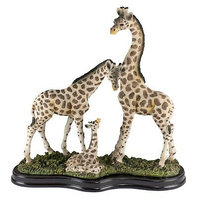 Giraffe Family With Baby Figurine High Detailed Resin 10.25 Inch High New In Box