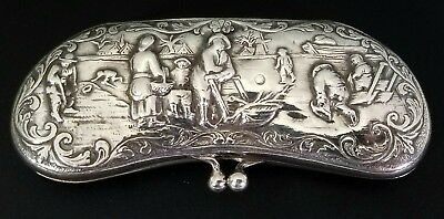 Antique 19Th C. Dutch 835 Sterling Silver Repousse Eyeglass Spectacle Case
