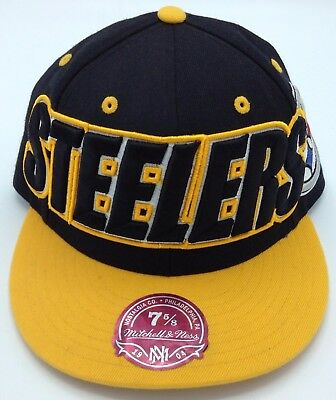 70252ecc1 NFL Pittsburgh Steelers Mitchell   Ness Adult Structured Fitted Cap Hat M N  ...