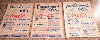 3 issues of 1900s Pharmacuetical Era magazines with COCA COLA ADS on cover !!