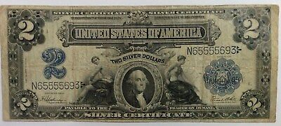 1899 $2 Silver Certificate - No Holes - w/folds - Nice Note - No Reserve