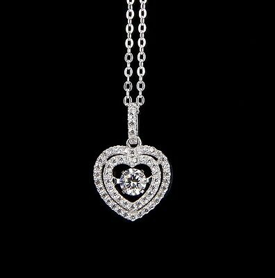 "Dancing Cubic Zirconia Double Heart Halo Pendant Sterling Silver 18"" Necklace"