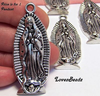 1 BIG SILVER Virgin Mary Statue PENDANT-our lady of guadalupe-Religious-Catholic